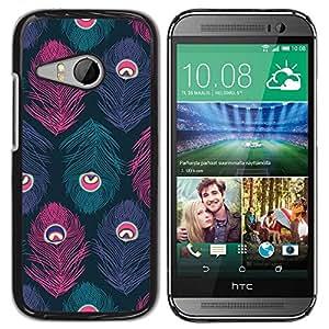 Paccase / SLIM PC / Aliminium Casa Carcasa Funda Case Cover para - Peacock Pattern Teal Purple Pink - HTC ONE MINI 2 / M8 MINI