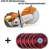 Stihl TS 420motortrenner 3,2kW avec 5x Disques à tronçonner diamant pour meuleuse