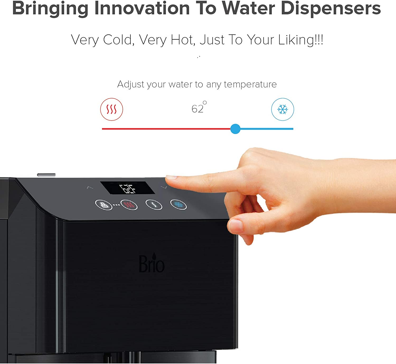 Adjustable Temperature Brio Moderna UV Self Cleaning Bottleless Water Cooler Dispenser with Filtration Digital Clock Cold and Room Black Stainless Steel Tri Temp Hot LED Nightlight