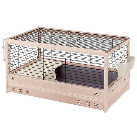 Ferplast Jaula de Madera para Conejos Arena 100, Conejillos de Indias, para pequeños Animales, Conejera con Accesorios incluidos, 100 x 62,5 xh 51 cm ...