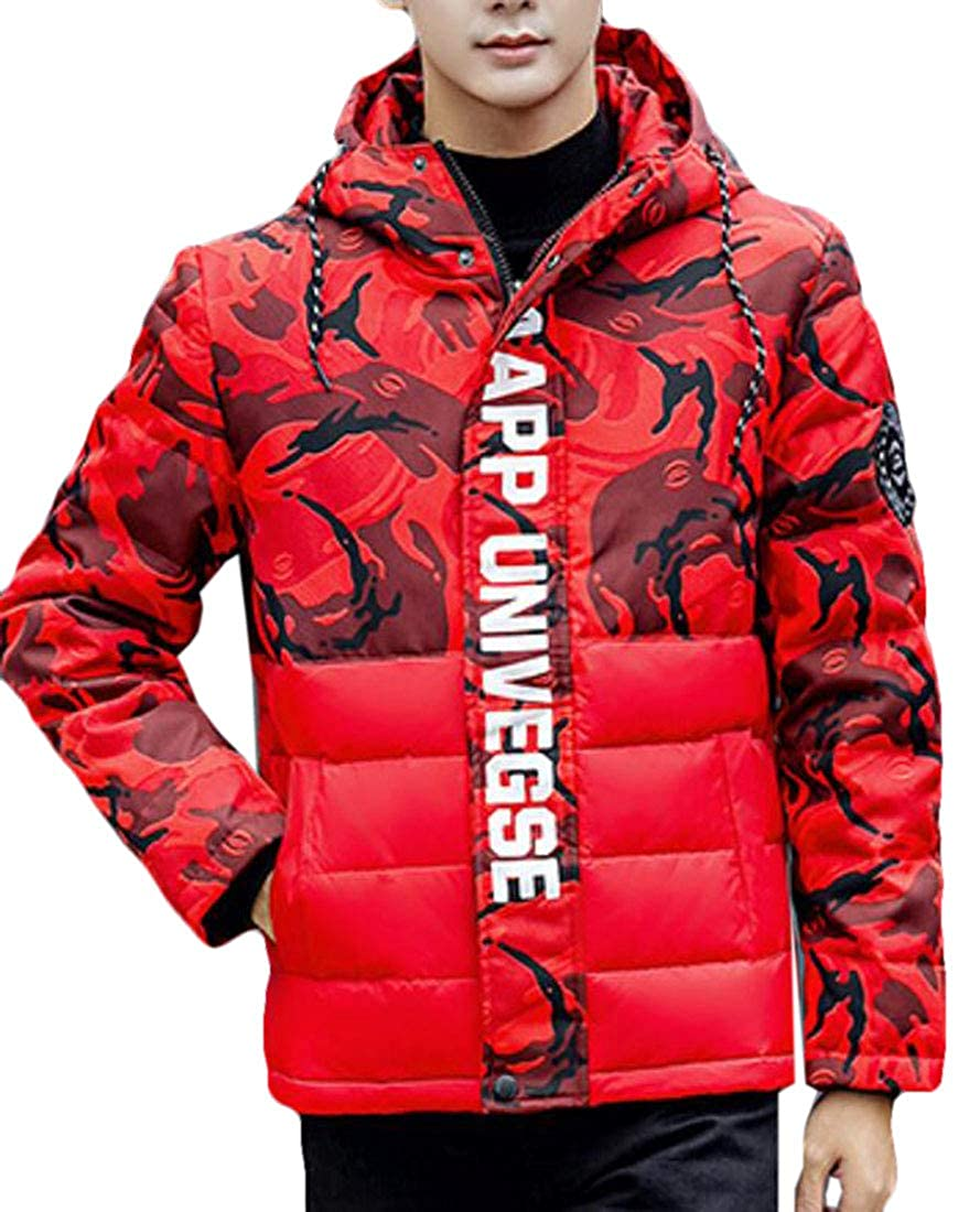 Wan-T Mens Winter Camouflage Hooded Warm Thicken Insulated Anorak Short Down Jacket