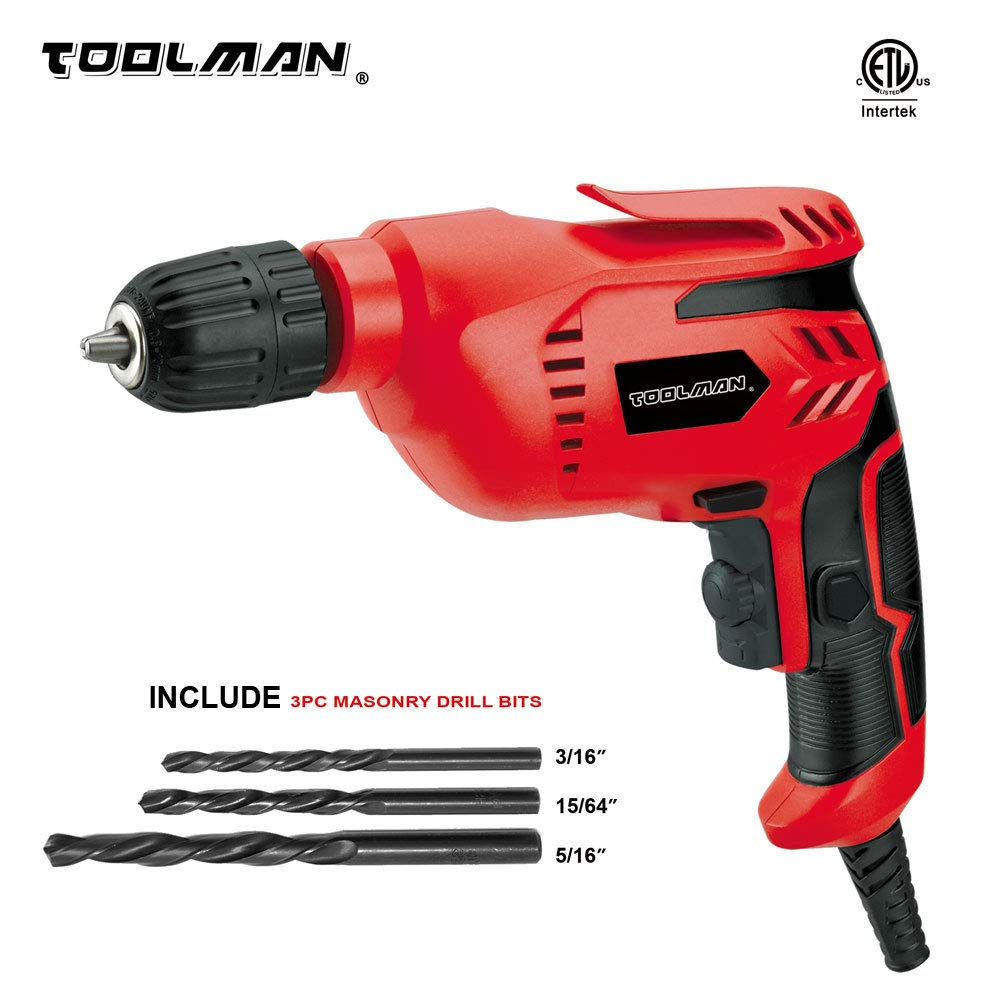 "Toolman Electric Power Drill Driver 3/8"" Variable Speed For Heavy Duty Corded works with DeWalt Makita Accessories"