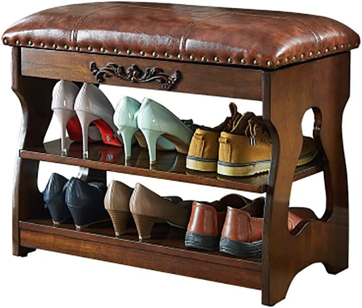 シューズベンチの交換シューズベンチの着用シューズラック収納スツールレザースツール純木製 (色 : A, サイズ さいず : 60*30*47cm)