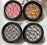 """NEW 2 Red + 2 Amber Clear Lens 4"""" ROUND LED STOP BRAKE"""