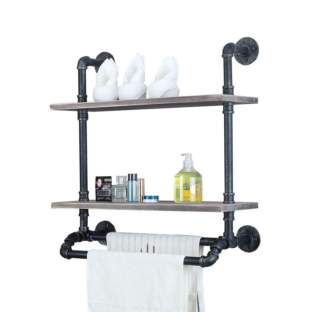 Industrial Bathroom Shelves Wall Mounted With 2 Towel Bar,24in Rustic Pipe Shelving 2 Tiered Wood Shelf,Black Farmhouse Towel Rack,Metal Floating Shelves Towel Holder,Iron Distressed Shelf Over Toilet