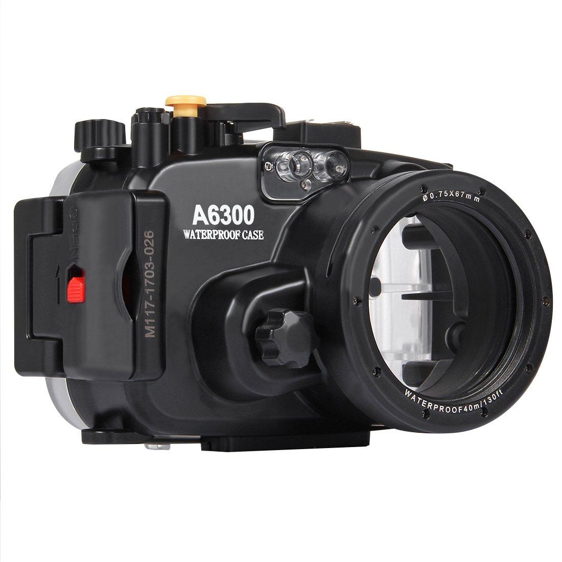 YAOkxin Sony A6300 40m水中深度ダイビングケース 防水カメラハウジング プロフェッショナル水中写真防水カバー(E PZ 16-50mm F3.5-5.6 OSS)(ブラック)   B07MKFXWVH