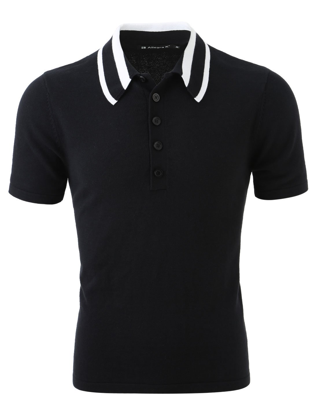 Allegra K Men Contrast-colored Collar Half Buttoned Placket Sweater Black L