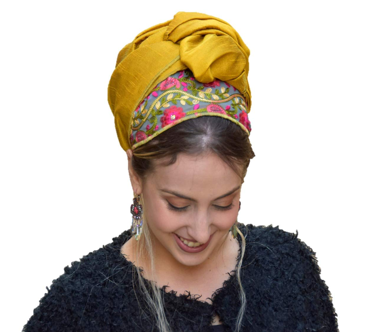 Sara Attali Headscarf TICHEL, Hair Snood, Head Scarf, Head Covering, Jewish headcovering, Scarf, One Size Golden Oasis