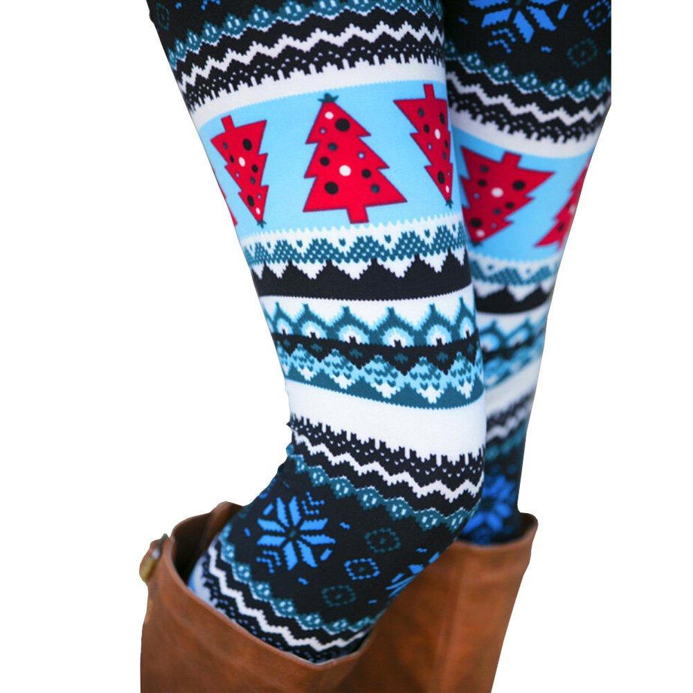 bluee Christmas Tree Ensasa Womens Autumn Winter Snowflake Graphic Printed Stretchy Leggings Pants