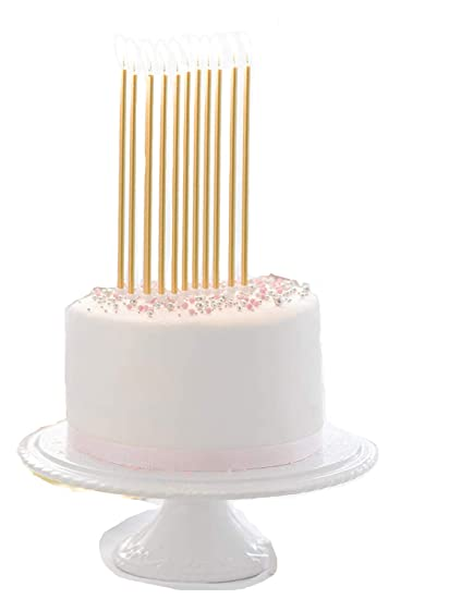 Amazon 20 Count Party Long Thin Cake Candles Metallic Birthday In Holders For Cakes Decorations Rainbow Home Kitchen