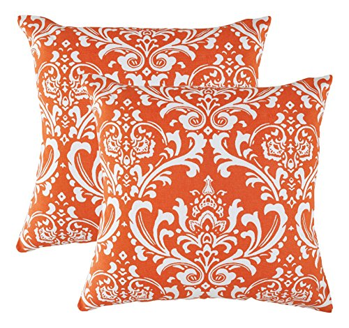 TreeWool,  Damask Accent Throw Pillow Covers in Cotton Canva