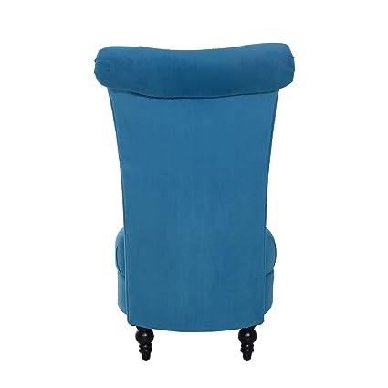 HomCom 45u0026quot; Tufted High Back Velvet Accent Chair   Blue