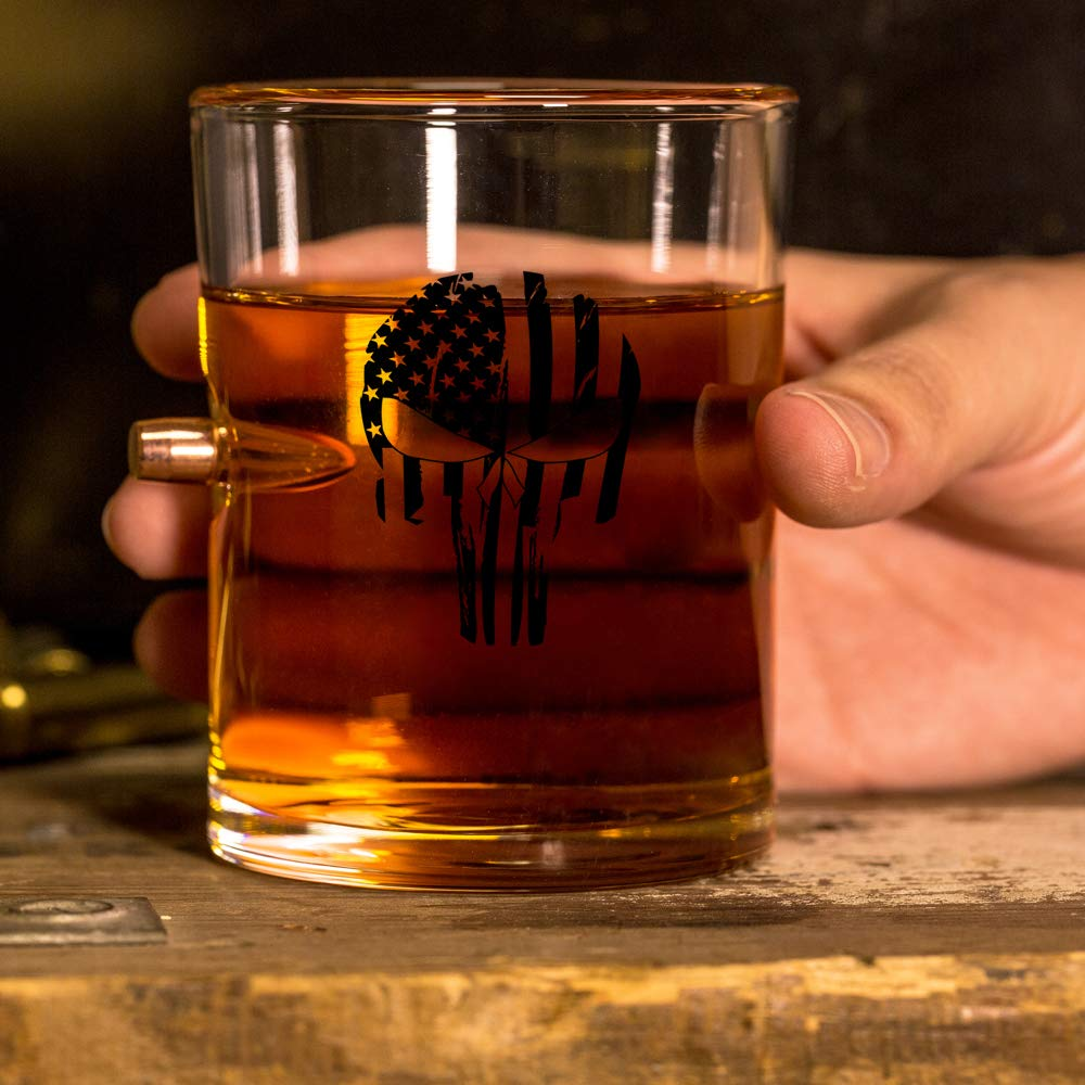 Punisher Flag .308 Real Solid Copper Projectile Hand Blown Old Fashioned Whiskey Rocks Glass