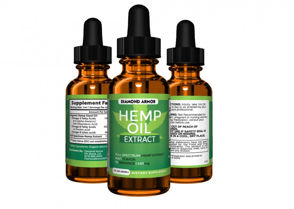 Full Spectrum Hemp Oil Drops - 450mg Made in USA | Promotes Anxiety Relief, Reduces Stress and Chronic Pain, Anti-Inflammatory and Sleep Aid (No THC) W/Omega 3, 6 & 9 Oils | Mint Flavor