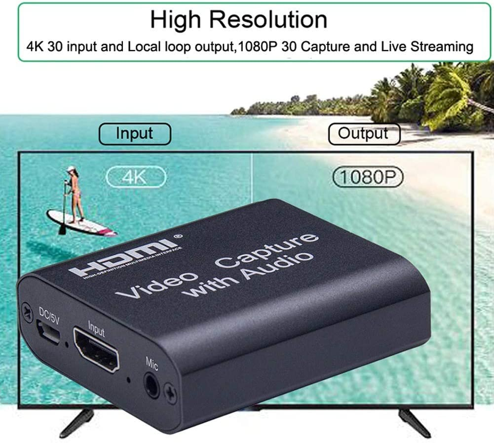 Binchil 1080P 4K Video Capture Device to USB 3.0 Video Capture Card with 3.5mm Stereo Output for PC OBS Live Broadcast