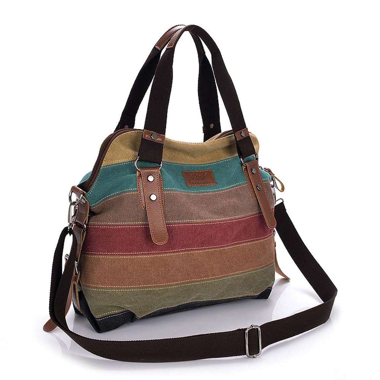 ATOLO Striped Women Bag,Canvas Shoulder Bag