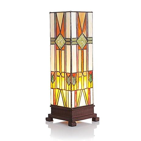 Modern Tiffany Style Hurricane Memory Lamp Yellow Glass 0