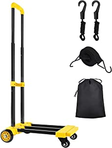 KEDSUM Folding Hand Truck, 70 Kg/155 lbs Heavy Duty 4-Wheel Solid Construction Utility Cart Compact and Lightweight for Luggage, Personal, Travel, Auto, Moving and Office Use (Yellow-4 Wheels)