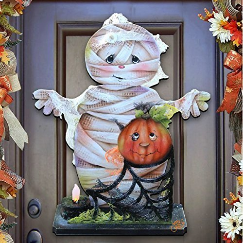 "Jamie Mills-Price Halloween ""Some Mummy Loves You"" Wooden Indoor & Outdoor Wooden Hanging Door Decorations & Wall Sign, For Home, School, Party #8457406H -"