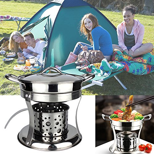 Cheap Camping Stove Kit ,  Portable Camp Backpacking Small Stoves With Stainless Steel Pot For Outdoor ,  Cooking ,  Hiking ,  Lightweight Mini Cookware Set Burning Frying Equipment ,  Great For 1-2 Adult