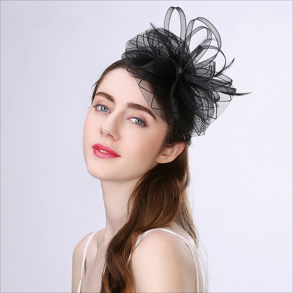 Mbd Elegance Hat Decoration Wedding Party Gauze Headdress Prom Annual Meeting Hair Band Cap for Women