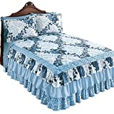 Collections Etc Navy Rose Floral Medallion Printed Tiered Ruffled Bedspread, Twin