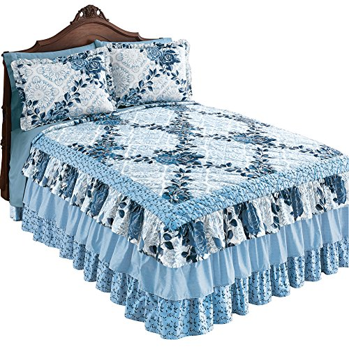 "Collections Etc Navy Rose Floral Medallion Printed Tiered Ruffled Bedspread for Full Bed, 110"" x 94"", Queen"