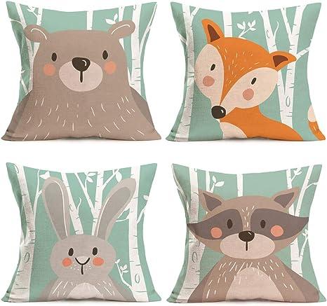 Personalized Pillow Case Pillowcase Woodland Deer Raccoon Fox Squirrel Rabbit Boy Girl Kids Birthday Christmas Gift Bedding