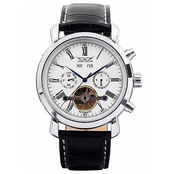 Reloj para hombre de GuTe; mecánico automático, acero, esfera de color blanco: Amazon.es: Relojes