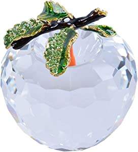 LONGWIN Faceted Crystal Apple Figurine 80mm (3.1 inch) Cut Faceted Glass Paperweight Clear