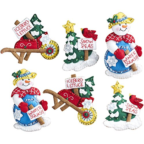Bucilla Felt Applique Ornament Kit, 86558 Snow Garden (Set of 6)