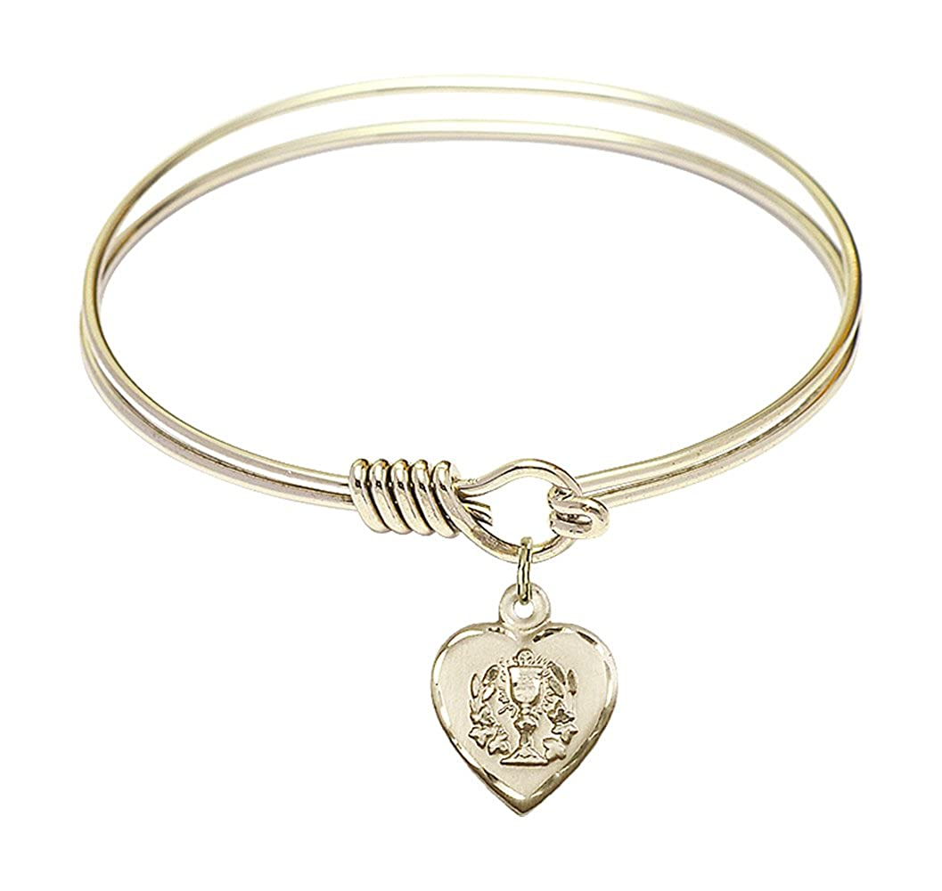 DiamondJewelryNY Eye Hook Bangle Bracelet with a Heart//Communion Charm.