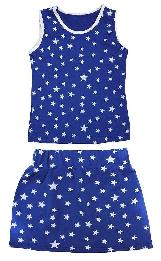 Petitebella Patriotic Stars Cotton Shirt Blue Skirt Set 1-8y