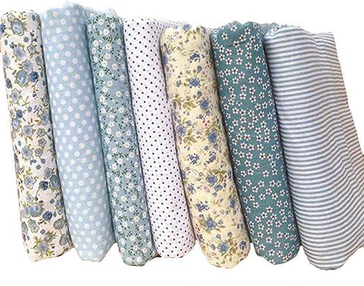 7 unids algodón Craft Tela Bundle Cuadrados Remiendo Pelusa DIY ...