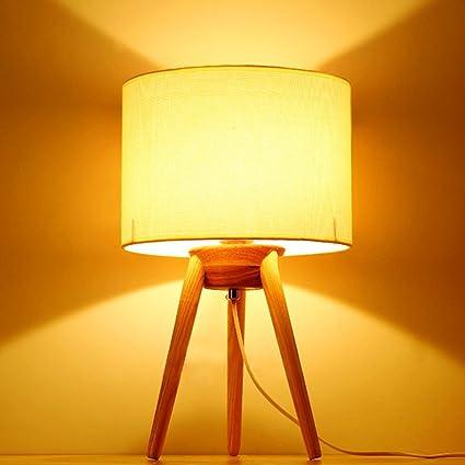 Lámpara de mesa de madera simple de madera, Lámpara de tela ...