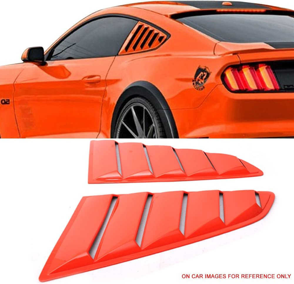 Pre-Painted Window Louver Compatible With 2015-2020 Ford Mustang CY Competition Orange PP Rear Window Scoop Cover Sun Shade Other Color Available by IKON MOTORSPORTS