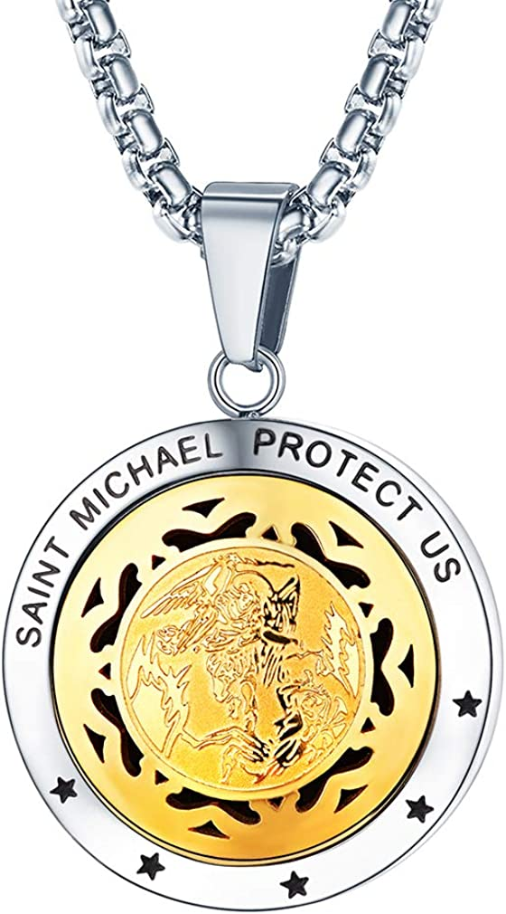 FaithHeart Saint Michael/Christopher/Anthony/St. Joseph/Patrick Pendant Necklace, Stainless Steel Essential Oil Diffuser Locket Pendants Custom Engraved Saints Jewelry (Send Gift Box)