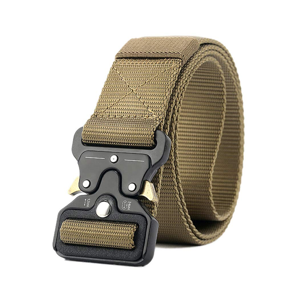 Mei Xu Belt Belt Men Smooth Buckle Tactical Belt Pants Casual Outdoor Student Nylon Canvas Belt 120×3.8cm (Color : G) Mei Xu Shop
