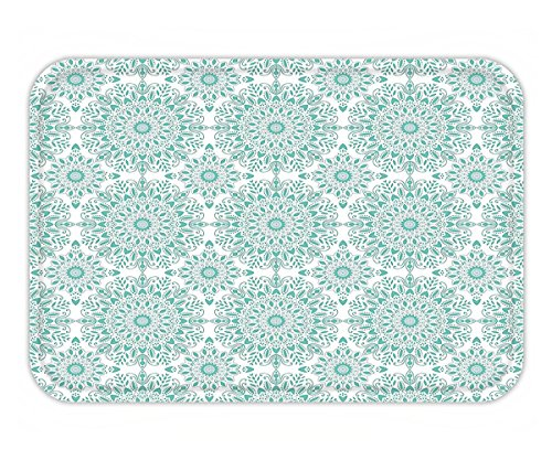 Minicoso Doormat Oriental Mandala Ethnic Oriental Image with Ivy Swirl Lace Like Detailed Artwork Aqua and (Artwork Polyester Lace)
