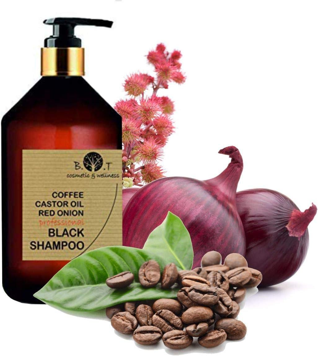Black Shampoo Champú Anticaída Natural con Café Ricino, Keratina y Extracto de Cebolla Detox Champu Acelerador 100 ml Sin sulfato