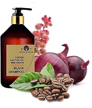 Black Shampoo Champú Anticaída Natural con Café Ricino, Keratina y Extracto de Cebolla Detox Champu Acelerador 500 ml Sin sulfato