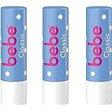 bebe Lippenpflegestift Classic/Feuchtigkeitsspendende Lippenpflege gegen trockene Lippen/3 x 4,9g