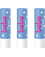 bebe Lippenpflegestift Classic, Feuchtigkeitsspendende Lippenpflege gegen trockene Lippen, 3 x 4,9 g