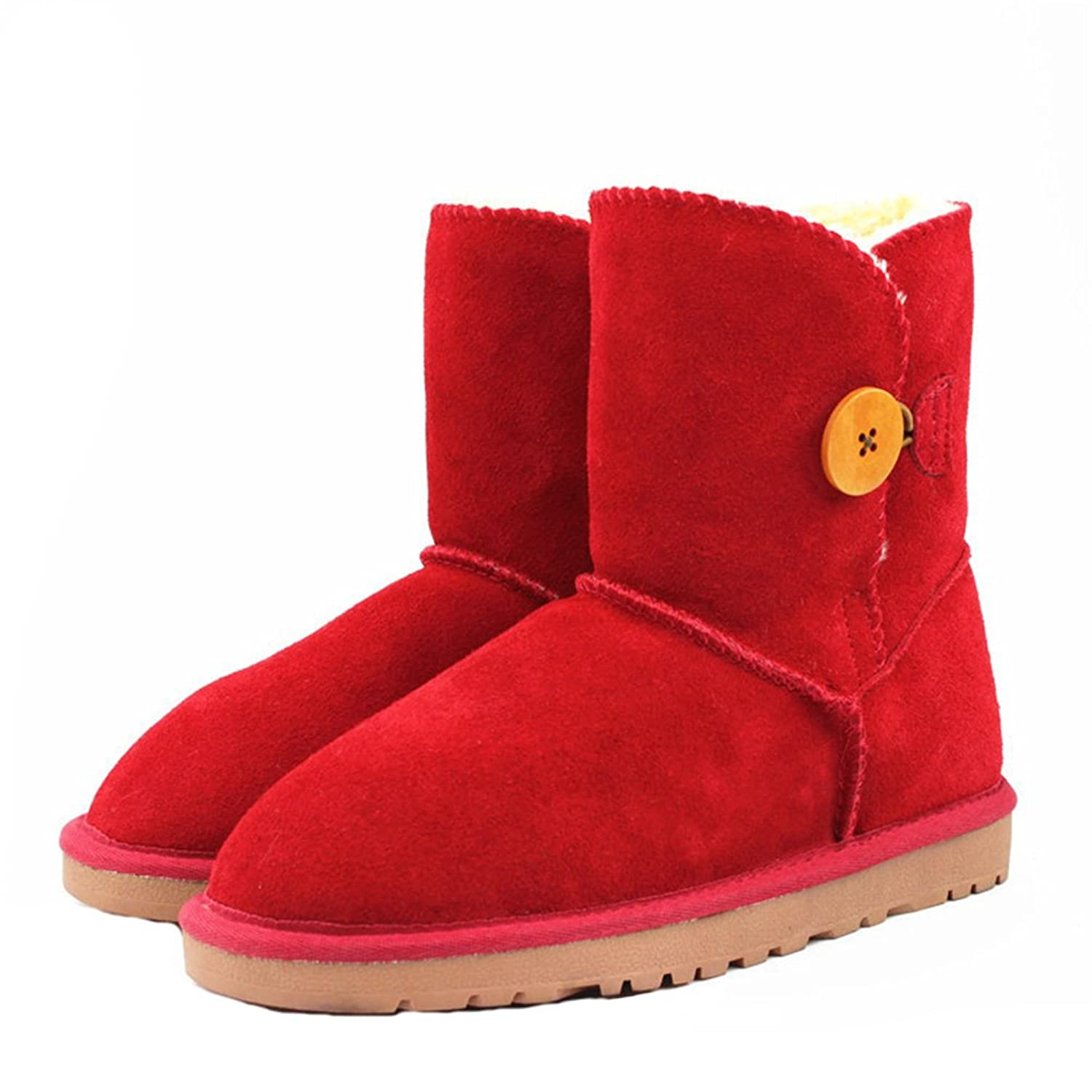 Womens Snow Boots Buckle Mid Calf Leather Boots