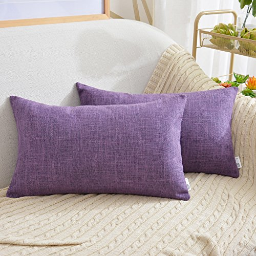 """Price comparison product image NATUS WEAVER Soft Linen Blended Burlap Lumbar Throw Pillow Covers Accent Oblong Cushion Cover Pillowcase for Sofa Bedroom Car, 12"""" x 20"""", Purple, 2 Pieces"""