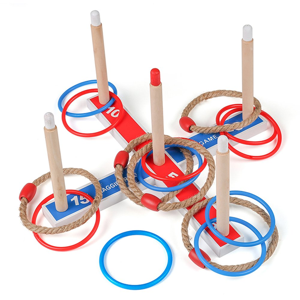 Maggift Ring Toss Game for Kids with 5 Rope Rings, 10 Plastic Rings, Carrying Bag Quoits Game for Kids Adults Indoor or Outdoor Game