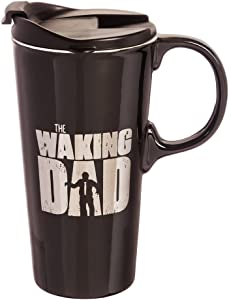 Cypress Home Waking Dad Ceramic Travel Coffee Mug, 17 ounces