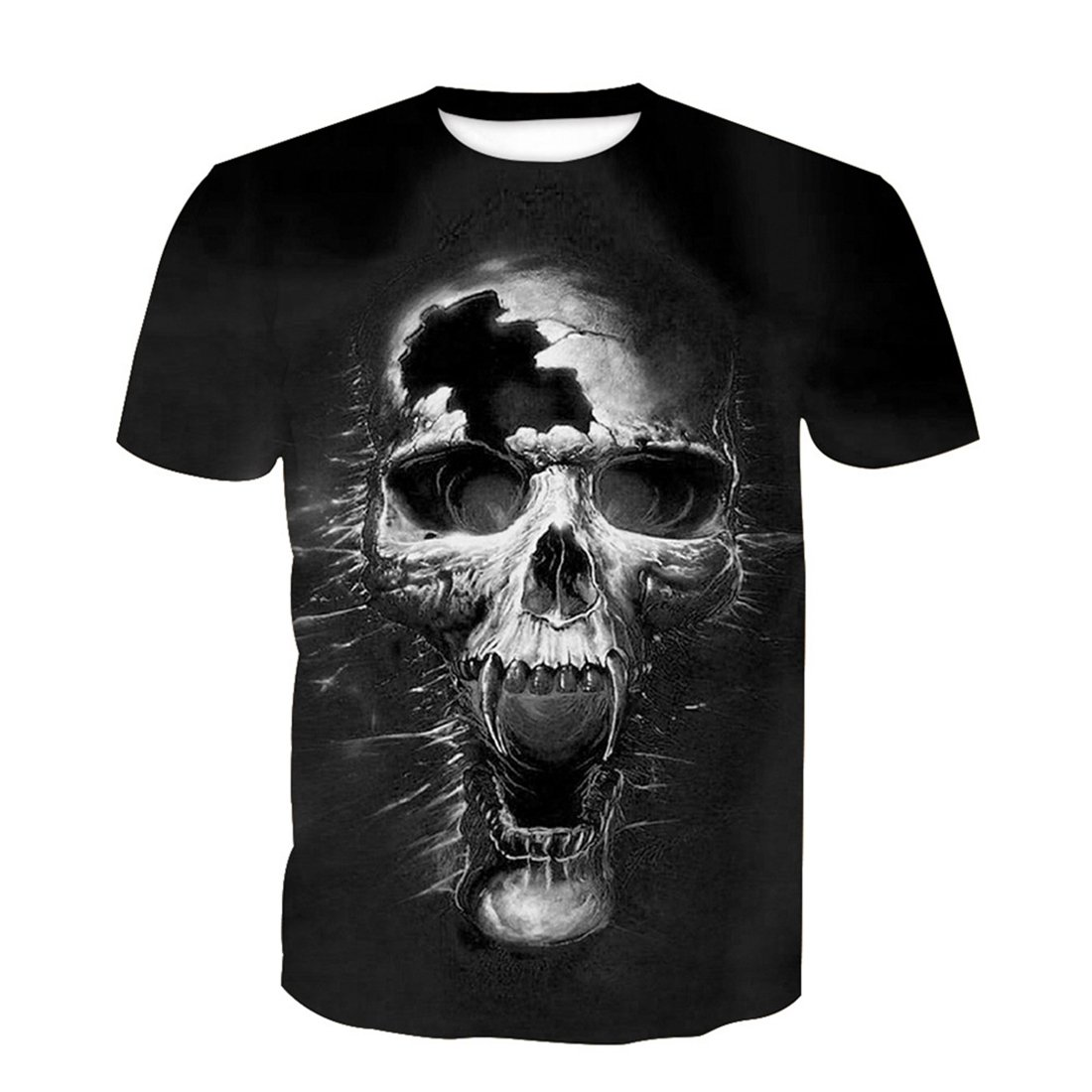 SEVENWELL Camiseta con Estampado De Calavera Digital De Novedad Extraña Tops Flores Hombres