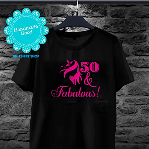 5964dcd48 Amazon.com: 50 And Fabulous Awesome 50th Birthday Gift Age 50 T shirts for  men and women: Handmade