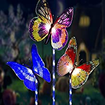 Garden Solar Lights Outdoor Decorative Lamp Stake,3 Pack Waterproof Solar Powered Butterfly Lights,Drunze LED Color Changing Landscape Lighting for Fence,Lawn,Yard Christmas Decorative Lighting